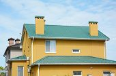 Repair Metal Roof With Renovate And Replace Metal Roof Tiles. House With Metal Roof, Brick Chimney,  poster