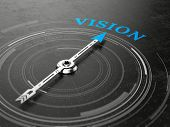 Business vision concept - Compass needle pointing Vision word. 3d rendering poster