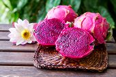 Bright Juicy Tropical Red Dragon Fruit. Dragon Fruit Or Pitaya Is The Plant In Cactaceae Family Or C poster