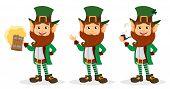 Set Of Smiling Cartoon Character Leprechaun poster