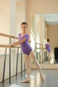 Young Attractive Ballerina Near Barre. Beautiful Girl Standing Near Railing In Ballet Class. Workout poster
