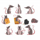 Cute Grey Mouse Set, Funny Rodent Character In Different Situations Vector Illustrations On A White  poster