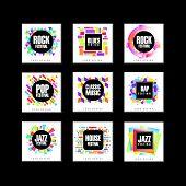 Music Festival Logo Set, Blues, House, Pop, Rap, Jazz Music Design Element Vector Illustrations On A poster