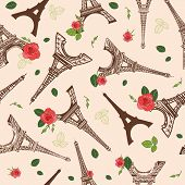 Vector Vintage Brown Eifel Tower Paris And Roses Flowers Seamless Repeat Pattern Surrounded By St Va poster
