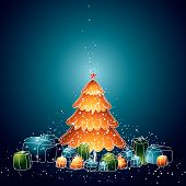 stock photo of xmas tree  - illustration with christmas tree and many gifts vector - JPG