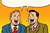 The Two Friends Laugh. Comic Book Cartoon Pop Art Retro Vector Illustration Drawing poster