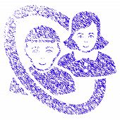 Grunge Ringed People Pair Rubber Seal Stamp Watermark. Icon Symbol With Grunge Design And Dust Textu poster