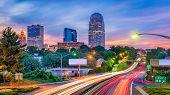 Winston-Salem, North Carolina, USA skyline at dusk. poster