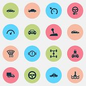 Automobile Icons Set With Cruise Control On, Gear Lever, Electric Car And Other Repairing Elements.  poster
