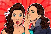 Woman Whispering Gossip Or Secret To Her Friend. Colorful Vector Illustration In Pop Art Retro Comic poster