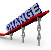 The word Change on an arrow that is rising by being lifted by a team of people working together to r