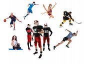 The Conceptual Multi Sports Collage With American Football, Hockey, Soccer, Jogging, Artistic Gymnas poster
