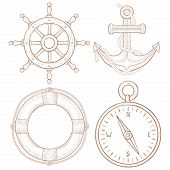 Nautical Symbols - Steering Wheel, Anchor, Lifebuoy, Compass. Hand Drawn Colored Sketch. Vector Illu poster
