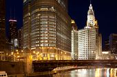Chicago River And Downtown Skyline, Chicago, Illinois, Usa poster