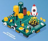 Ico Blockchain Isometric Composition On Blue Background With Cryptocurrency At Computer Hardware, Mi poster