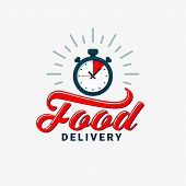 Food Delivery Icon. Timer And Food Delivery Inscription On Light Background. Fast Delivery, Express  poster