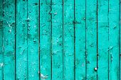 Old Boards With Cracked Cyan Paint. Textured Wooden Old Background With Vertical Lines. Cyan Wooden  poster