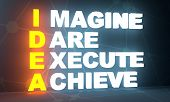 Idea Acronym From Imagine, Dare, Execute And Achieve Words. Motivation Concept. 3d Rendering poster