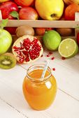 Juice And Fruits On Background. Healthy Lifestyle. A Glass Of Freshly Squeezed Juice On The Backgrou poster