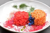 Colorful Cooked Rice That Coloring By Plant Pigment, Colorful Cooked Rice Ball With Vegetables On Wh poster