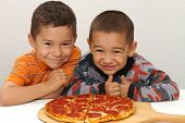 Boys Ready To Eat A Pizza