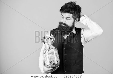 poster of What Is A Good Way Of Investing Money. Bearded Man Thinking Of Investing Money Into Business. Busine