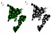 Western Visayas Region (regions And Provinces Of The Philippines) Map Is Designed Cannabis Leaf Gree poster