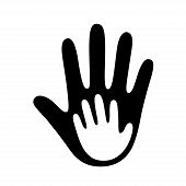 Adult Hand Palm Holding Child Hand Symbol. Family And Parenthood, Child Care And Social Charity Logo poster