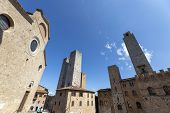 Historic Center Of San Gimignano With Characteristic Medieval Architecture Of Its Historic Center Ha poster