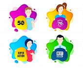 Super Action Symbol. People Shape Offer Badge. Special Offer Price Sign. Advertising Discounts Symbo poster