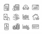 Set Of Finance Icons, Such As Credit Card, Finance Calculator, Web Traffic, Finance, Loan House, Bus poster