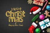 Merry Christmas Greeting Card Vector Background Template. Christmas Typography For Holiday Season Wi poster