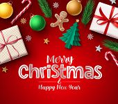 Christmas Greeting Vector Banner. Merry Christmas Typography Text For Holiday Season With Xmas Eleme poster
