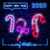 Candies Neon Sign. Sweet, Lollipop And Gift Neon Signs Set. Night Bright Neon Sign, Colorful Billboa poster