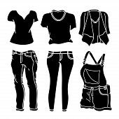 Collection Of Clothing Silhouette Vector Design Isolated White Background. Clothes Icon Isolated On  poster