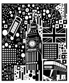 Poster Of England With British Flag, Big Ben And Double Decker, Black And White. poster