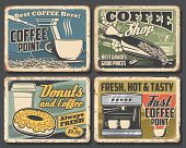 Coffee Drink Rusty Metal Signboards With Cups And Espresso Machine, Coffee Shop And Cafe Vector Desi poster