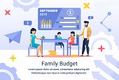 Informative Flyer Inscription Family Budget, Flat. Family Makes Budget Together. Parents Spend Time  poster
