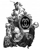 Luxurious Victorian initials letter O, after an engraving by Gustav Dore,