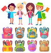 Schoolchildren Stand With Schoolbags And Books. Kids Hold Hands And Smile To Go Back To School. Bagp poster