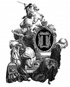 Luxurious Victorian initials letter T, after an engraving by Gustav Dore,