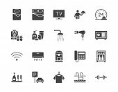 Hotel Room Facilities Flat Glyph Icons Set. Double Bed, Reception, Room Service, Bathrobe, Slippers, poster