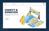 Give Money Isometric Concept. Donation And Charity Vector Landing Page. Illustration Contribution An poster