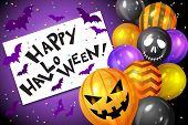 Bunch Of Halloween Balloons, Bats And Confetti And Text Happy Halloween. Flying Bunch Of Shiny Hallo poster