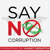 Lettering Stop Corruption Day Vector For International Anti Corruption Day And International Day Aga poster