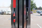 Black And Red Fuel Pistols On Fuel Station. Gasoline And Petrol Products Concept. Pumping Petrol At  poster