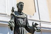 Bronze Statue Of St Francis Of Assisi, Italy. poster