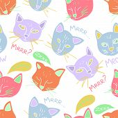 Hand Drawn Vector Seamless Pattern Of Cute Cats Head. Meowing And Purring Cat Collection. Flat Style poster