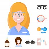 Vector Design Of Vision And Clinic Logo. Collection Of Vision And Ophthalmology Stock Symbol For Web poster