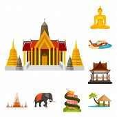 Isolated Object Of Thailand And Travel Logo. Collection Of Thailand And Culture Stock Vector Illustr poster
